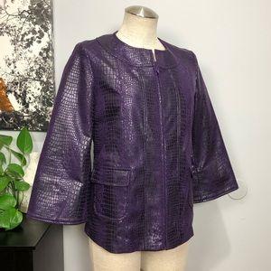 Susan Graver Jacket Purple Croc Faux Leather Sz XS